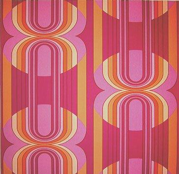 Livingwalls Retro Vision Mustertapete/Papiertapete, Retro-Design, orange, violett, magenta, mehrfarbig, 703927