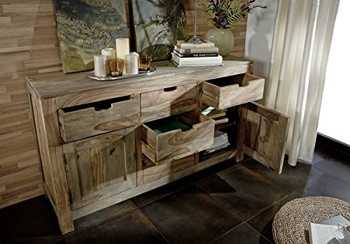 Palisander Massivmöbel Sideboard Sheesham Holz massiv Nature Grey #80