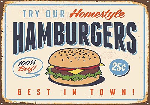 Retro Plakat Hamburger - Wallsticker Warehouse - Fototapete - Tapete - Fotomural - Mural Wandbild - (3185WM) - L - 152.5cm x 104cm - VLIES (EasyInstall) - 1 Piece