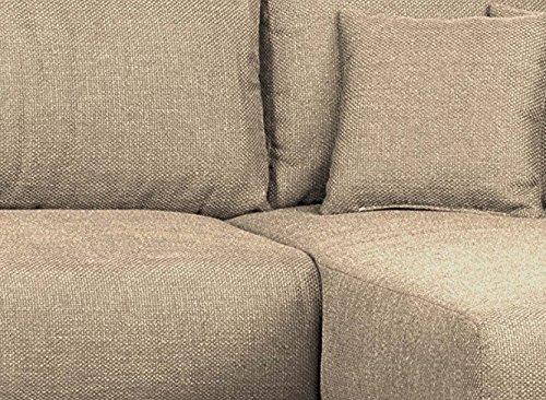 CAVADORE Polsterecke in L-Form ohne Federkern Corona Molly/Wohnlandschaft mit Schlaffunktion und Bettkasten/Strukturstoff und Microfaser in Cappuccino/232 x 164 x 69 cm (B x T x H)