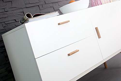 DuNord Design Sideboard Kommode STOCKHOLM 120cm weiss Eiche Retro Design Regal Anrichte
