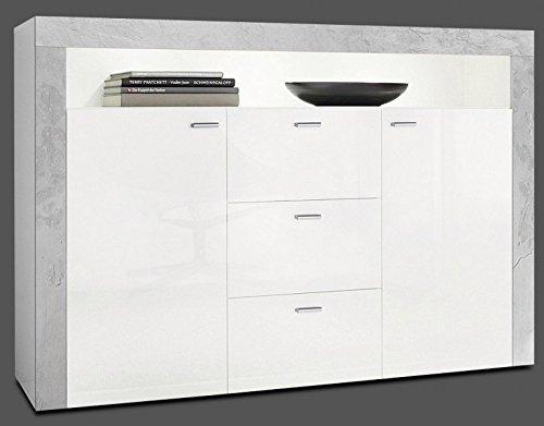 Generic Sideboard Wohnzimmer Flur Schrank Weiß Hochglanz Beton-Optik Matt Neu 867335