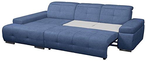 Cavadore Polsterecke Mistrel mit Longchair XL links / Eck-Couch mit Schlaffunktion / Bettfunktion / verstellbare Kopfteile / Wellenunterfederung / Maße: 273 x 77-93 x 173 cm (B x H x T) / Farbe: Blau