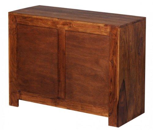 Sideboard Massivholz Sheesham Kommode 90 cm 2 Schubladen 2 Türen Design Highboard Landhaus-Stil braun natur
