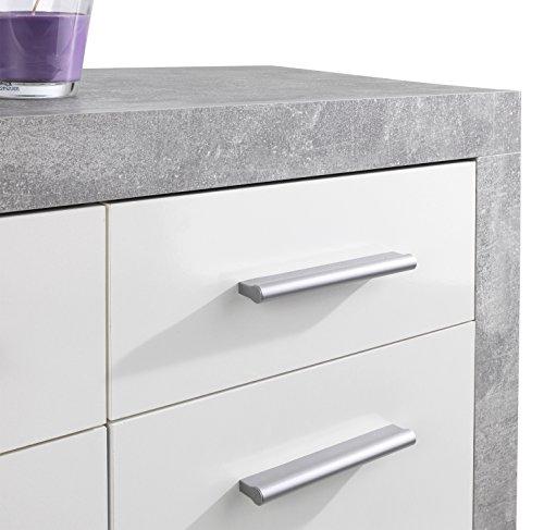 Sideboard Anrichte Mehrzweckschrank SABRINA 1 | Weiß Hochglanz | Betonoptik | 3 Türen | 3 Schubladen