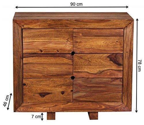 WOHNLING Sideboard Massivholz Sheesham Kommode 90 cm 6 Schubladen Anrichte Design Highboard Landhaus-Stil Echt-Holz Natur-Produkt Schubladenkommode dunkel-braun Flur-Möbel Aufbewahrung Dielen-Möbel