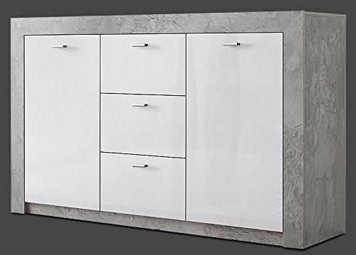 Generic Sideboard Wohnzimmer WOHNWAND ANBAUWAND Beton-Optik Weiß Hochglanz Neu 247245