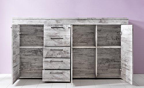 trendteam Wohnzimmer Sideboard Schrank Wohnzimmerschrank River, 176 x 77  x 41 cm in Pine Weiß, Chabby Chic Retro Dekor mit viel Stauraum