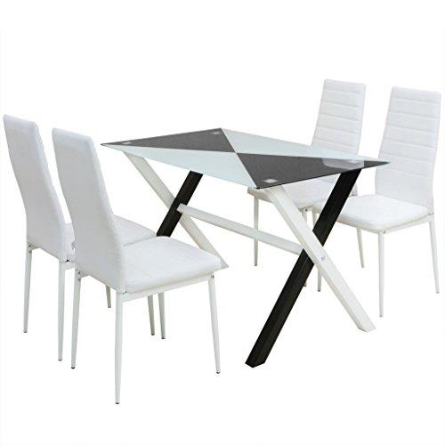 Festnight 5-tlg. Set Essgruppe Esstisch + 4 Essstühle Kunstleder Esszimmertisch Küchenstuhl Esszimmer Sitzgruppe Schwarz und Weiß
