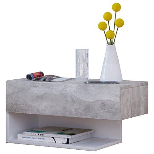 VCM Dormal Maxi Wand Nachttisch/Nachtschrank/Beistelltisch Kommode, Holzdekor, Beton-Optik / Weiß, 15 x 60 x 31.5 cm