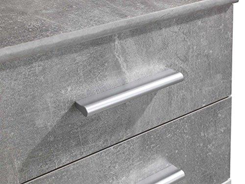Kommode Sideboard Anrichte BENITO   Weiß   Betonoptik   2 Schubladen   3 Türe   120x82x35 cm