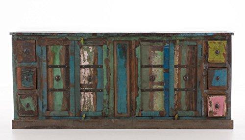 CLP Sideboard AJITH aus recyceltem Teakholz I Kommode mit 4 Fächern und 6 Schubladen I Mehrfarbiges Highboard mit Klapptüren im Vintage-Look Bunt