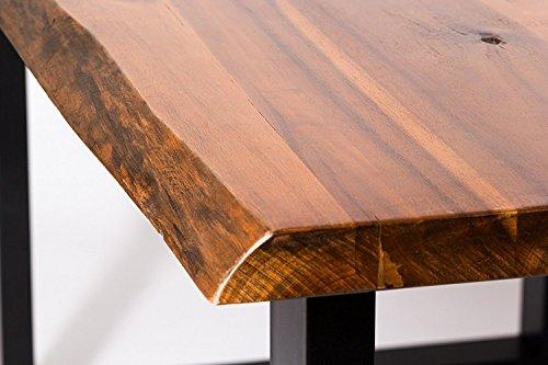 SAM® Esszimmertisch 120x80 cm Ida, echte Baumkante, massiver Esstisch aus Akazienholz, Metallbeine schwarz, Baumkantentisch