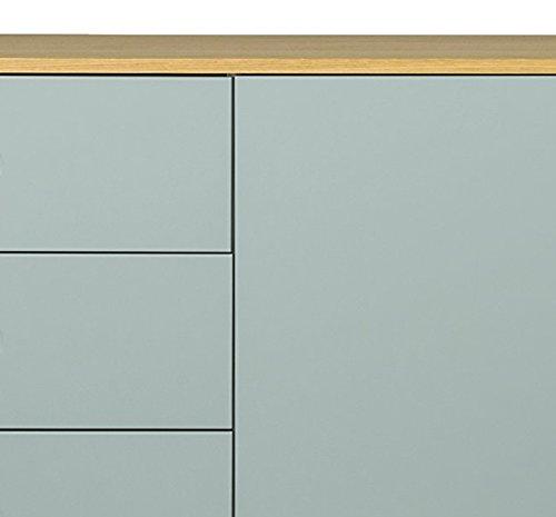Tenzo 1675-676 Dot Designer Sideboard Holz, pastellgrün / eiche, 43 x 162 x 79 cm