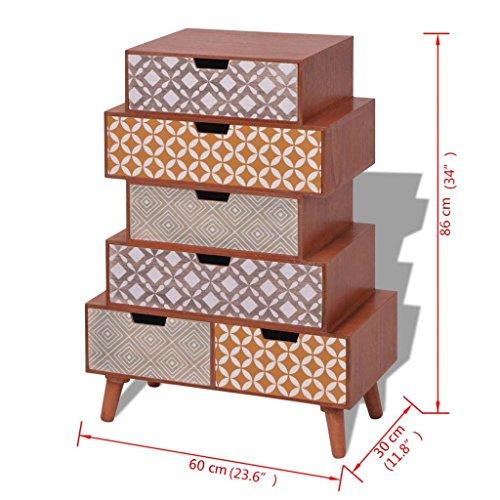 vidaXL Kommode Sideboard Schubladenschrank mit 6 Schubladen Retro Design Braun