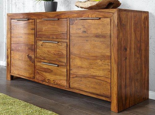 DuNord Design Sideboard Kommode ARONA 140cm Massivholz Sheesham Palisander Massiv Holz natur