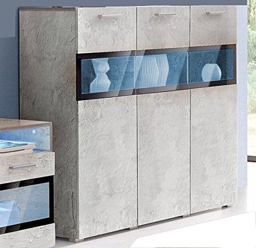 Generic Highboard Sideboard KOMMODE Wohnzimmer ANBAUWAND Beton-Optik Neu 333139
