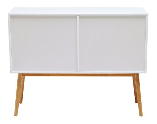 Inter Link Kommode Anrichte Mehrzweckschrank Sideboard skandinavisches design MDF Bambus Holz Weiss