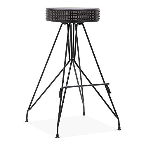 Cult Design Moda Metall Barhocker CD1, Kunstleder Sitz mit Nieten, Schwarz 76cm