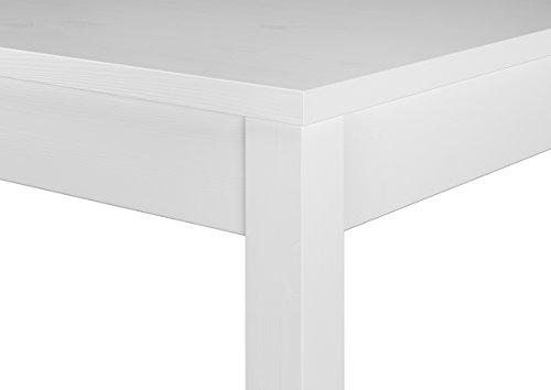 Erst-Holz® Moderne weiße Essgruppe mit Tisch und 2 Stühle Kiefer Massivholz 90.70-50 A W Set 21