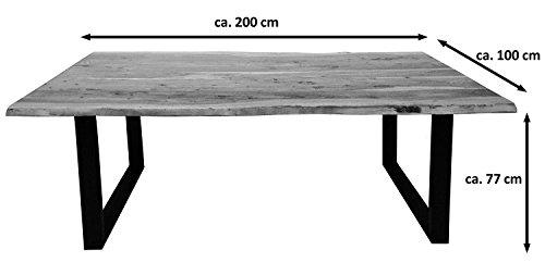 SAM 6 tlg. Essgruppe Quentin, je 1x Baumkantentisch 200x100cm & -bank 200x40 cm, Akazie-Holz, 4x Schwingstuhl Parzivo in schwarz