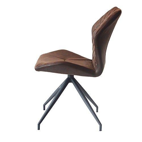 Damiware Rocky Esszimmerstühle 2er set   Design Stuhl mit Stoffbezug   Burgundy Braun (Burgundy)
