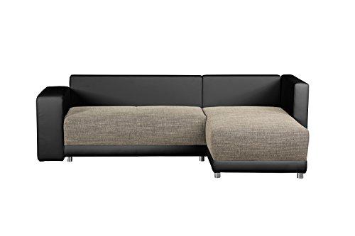 CAVADORE Wohnlandschaft L Form, mit Federkern/Sofa mit Schlaffunktion und Bettkasten/Mit Struktursstoff und Kunstleder in Grau-Schwarz/Mit Ottomane links oder rechts/232 x 164 x 69 cm (B x T x H)