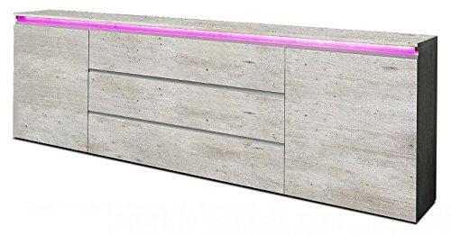 Generic Sideboard ANBAUWAND Wohnzimmer WOHNWAND Beton-Optik Matt 240 cm Neu 226980
