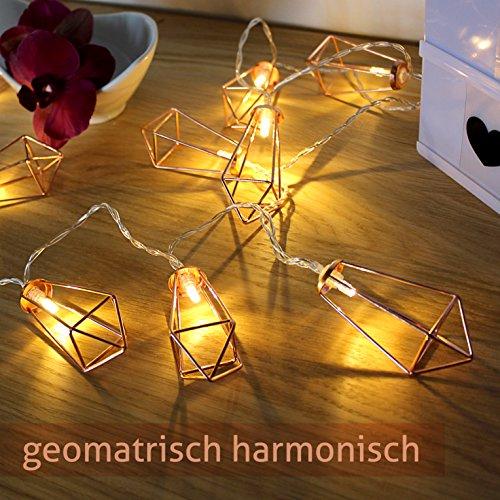 Lichterkette geometrisch Laterne LED Lampe Vintage-Look Beleuchtung Retro-Design kupfer rosegold Dekoleuchte batteriebetrieben warmweiß außen innen