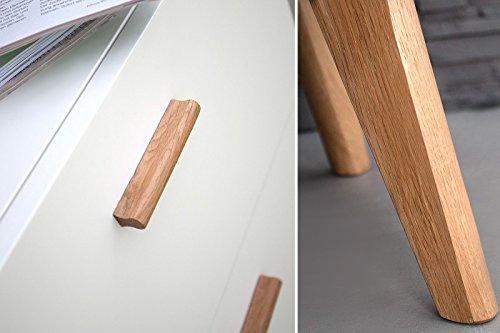 DuNord Design Sideboard Kommode STOCKHOLM 160cm weiss Eiche Retro Design Regal Anrichte
