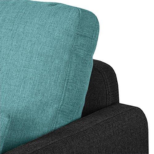 Cavadore Wohnlandschaft Scrubbles, U-Sofa im Material-Mix, 328 x 73 x 196 cm (BxHxT), Türkis, schwarz