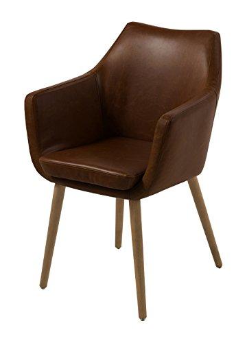 AC Design Furniture 59099 Armstuhl Trine, 58 x 58 x 84 cm, Sitz/Rücken lederlook vintage schokolade PU