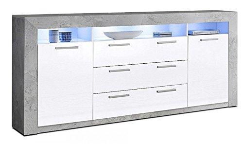Generic Sideboard Wohnzimmer WOHNWAND ANBAUWAND Beton-Optik Weiß Hochglanz Neu 708156
