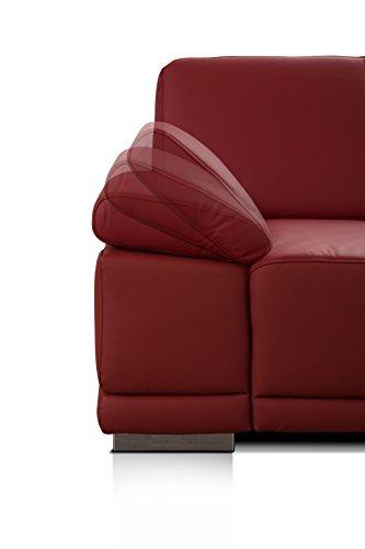 CAVADORE 2,5-Sitzer Sofa Corianne in Kunstleder/Kleine Couch in hochwertigem Kunstleder und modernem Design/Mit verstellbaren Armlehnen/Größe: 191 x 80 x 99 (BxHxT)/Bezug in Kunstleder rot