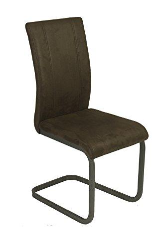 CAVADORE Schwingstuhl 2-er Set LILLY / 2x Esszimmerstühle in modernem Design / Bezug Kunstleder im Vintage Look in Dunkelbraun / Gestell Metall dunkelgrau pulverbeschichtet / 43 x 99 x 56cm (B x H x T)