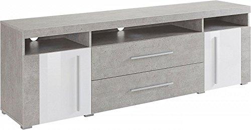 Generic Sideboard ANBAUWAND Wohnzimmer WOHNWAND Beton-Optik Weiß Hochglanz Neu 899710