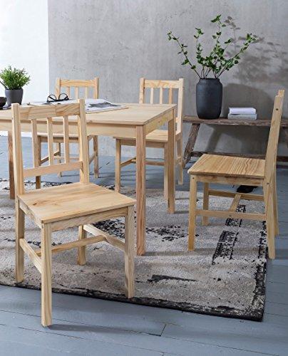 WOHNLING Esszimmer-Set EMIL 3 teilig Kiefer-Holz Landhaus-Stil 70 x 73 x 70 cm   Natur Essgruppe 1 Tisch 2 Stühle   Tischgruppe Esstischset 2 Personen   Esszimmergarnitur massiv