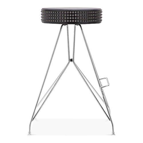 Cult Design Moda Metall Barhocker CD1, Kunstleder Sitz mit Nieten, Chrom 66cm
