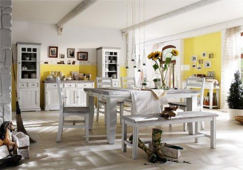 Robas Lund, Bank, Sitzbank, Opus, Kiefer/Massivholz/weiß,140 x 49 x 35 cm, FW608T36