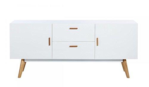 CAGUSTO Kommode Freja Lowboard Sideboard weiß MDF Eiche Natur Holzbeine Design Board retro skandinavisch