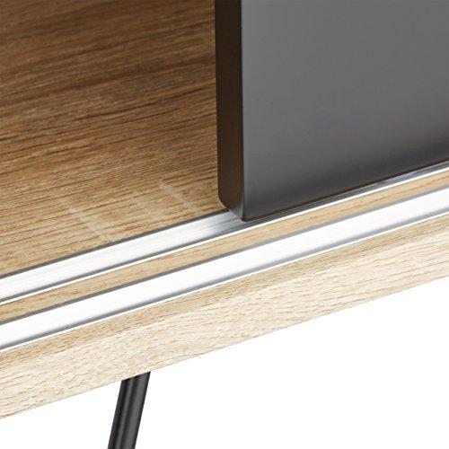 Relaxdays Sideboard Retro, Kommode mit Schiebetüren, Anrichte aus Holz und Metall, HBT: 70 x 80 x 40 cm, schwarz-weiß