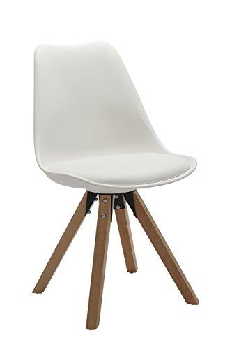 Stuhl Esszimmerstühle Küchenstühle !2 er Set! in WEISS Küchenstuhl mit Holzbeine Sitzkissen TYP9-518M Esszimmerstuhl RETRO Küchenstuhl Farbauswahl