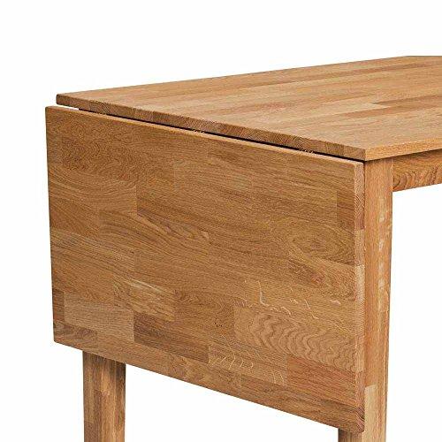Pharao24 Esstisch mit Stühlen aus Eiche Massivholz Kunstleder Schwarz (5-teilig)