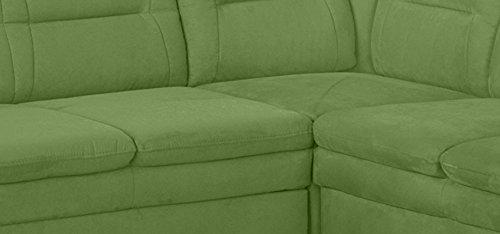 Cavadore 5034 Wohnlandschaft Cassada, 3-er Bett li-Spitzecke mit Relaxfunktion-Abschlusselement 2-sitzig, Schublade rechts, 265 x 90 x 240 cm, Merita kiwi 35