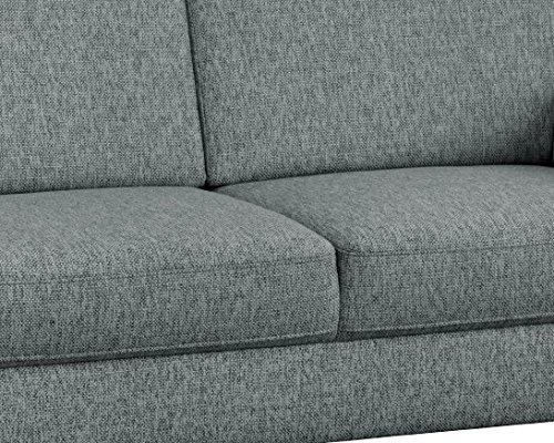 CAVADORE 3-Sitzer Baltrum im Landhausstil/Landhaus Sofa in grau mit Federkern/Landhaus Garnitur/Holzfüße Buche natur/186 x 87 x 88 cm (BxHxT)/Strukturstoff Silber/Grau (hellgrau)