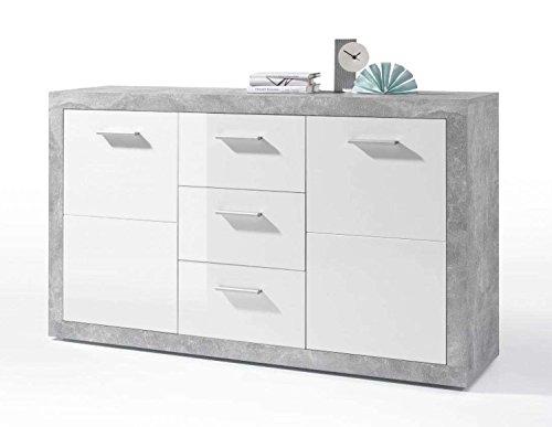 AVANTI TRENDSTORE - Sara - Kommode mit 2 Türen und 3 Schubkästen, in Holzdekor weiß glanz und Betonoptik, Maße: BHT 147x89x37 cm