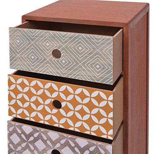 vidaXL Kommode Sideboard Schubladenschrank mit 5 Schubladen Retro Design Braun