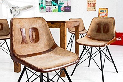 DuNord Design Stuhl Esszimmerstuhl TOUCHDOWN braun Leder Eisengestell Design Küchenstuhl