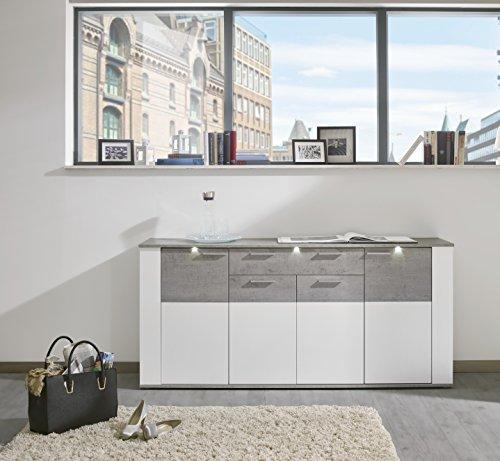trendteam PR Sideboard Kommode Wohnzimmerschrank | Weiß | Grau (Betonoptik) | 184 x 86 cm | Inkl. LED Beleuchtung
