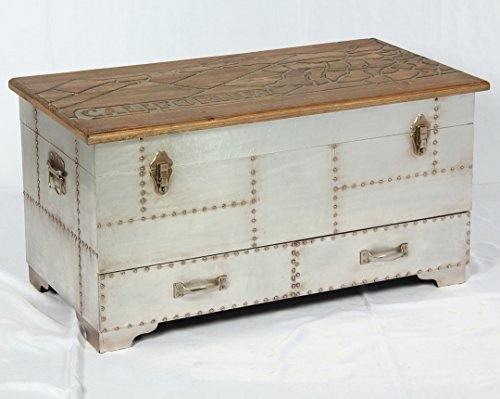 Phoenixarts Vintage Truhe Industrie Design Lowboard Retro Sideboard Holz Aluminium Loft Beistelltisch 510